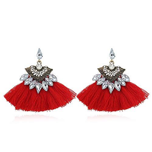 4914a689d49f MYJ Pendientes de Flecos Exóticos de Metal para Mujeres – Pendientes de  Diamantes Pendientes de Viento Étnicos