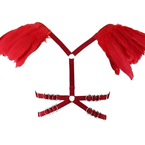 CS-YP- Womens Federn Harness BH Epaulette Schulter Flügel Riemchen elastisch einstellen Cupless Crop Tops Punk Festival brennender Mann Rave Kostüme, Weinrot Party Kleidung (Color : C Red) (Rave Kostüme Männer)