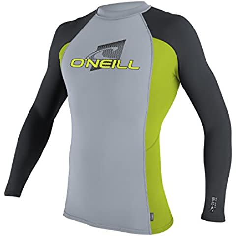 O'Neill Wetsuits UV Sun Protection Youth Skins Long Sleeve Crew Sun Shirt Rash Guard, Fog Blue/Lime/Graphite, 10 by