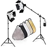 """Julius Studio 2Pack Of 10"""" Wide Continuous Lighting Light Reflector With Overhead Boom Light Stand Kit, Light Stand Tripod 24"""" Multi Color Triangle Reflector For Professional Studio Use, JSAG458"""