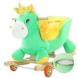 Lvbeis Baby Schaukelpferd Holz Plüsch Rocking Horse Toy mit Rädern Schaukeltier FüR 6 Monate Bis 3 Jahre Alt,Green