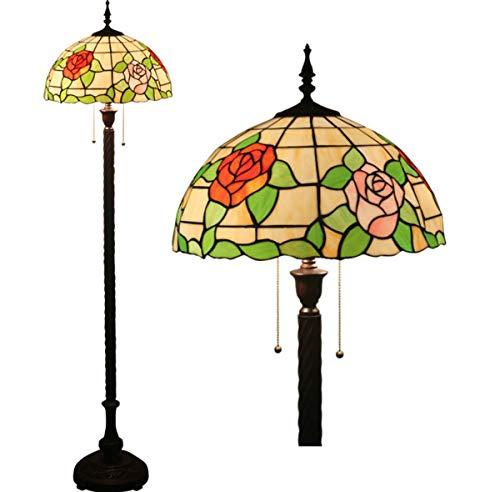 Floral Vintage Stehlampe (Stehlampe Tiffany-Stil Vintage Rosen Floral Glasmalerei 2-Licht lesen Stehlampe für Schlafzimmer Wohnzimmer, 63 Zoll hoch)