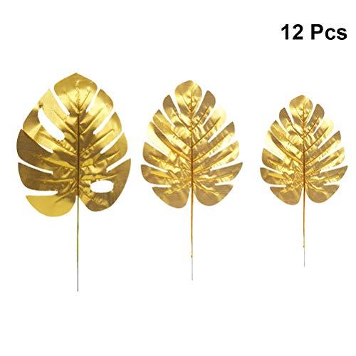 Amosfun Blätter Dekoration Tropische Palmblätter Golden Hochzeit Dekoration 12 Stücke (Verschiedene Größe) Goldenen Blättern