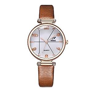 Hffan Damen Einfach Retro Uhr mit Vintage Textur Lederband Quarzuhr Frauen Freizeituhr Tabelle Handschmuck Armband Uhren Damenuhr