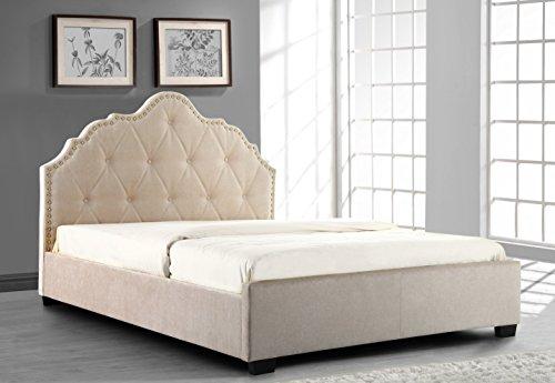 CREAM CHENILLE UPHOLSTERED FABRIC DESIGNER BED FRAME 5FT KINGSIZE