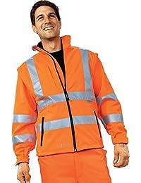 Warnschutz-Softshelljacke EN 20471 (EN 471) Klasse 3 beim Tragen mit Ärmeln warnorange | XXL