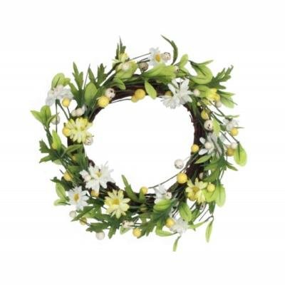 Daisy Twig Wreath With Yellow/White Fabric Daisies