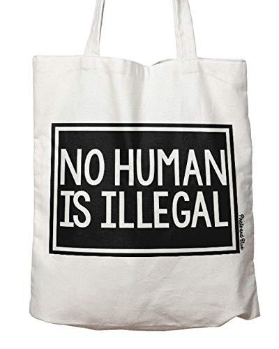 Pirate & Blue Designs No Human Is Illegal canvas aktivist einwanderung tote bag