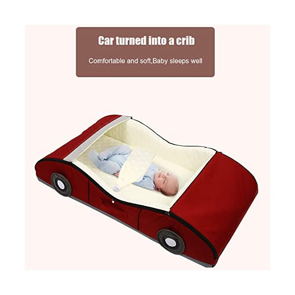 YANGGUANGBAOBEI Car Travel Crib,Breathable And Hypoallergenic Sleep Nest Newborn Lounger Pillow - Infant Toddler Cradle Multifunction Storage Bag,Red YANGGUANGBAOBEI ❤ [Safety material]:Our baby Mosquito net tents bed use certified non-toxic,lead free, baby safe material.breathable translucent mesh keeps parent easy view of your baby while keeps the air flowing and your baby dry,It is better for 0 -18 month baby ❤ [Save space]: Pop Up Baby Tent can be folded up nice and tight, making it so easy to put inside your backpack and bring it along to wherever you and your baby go. Take it to the park, the beach, a soccer Game, or simply in the living room for day-to-day use ❤[ tent]:Self-expanding screen tent that can be popped open and folded back down in seconds, two way zipper enable quick and convenient access to your baby inside the tent. 2