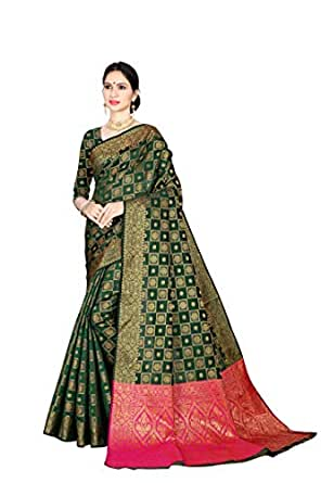 ANNI DESIGNER Women's Green Color Silk Patola Saree with Blouse Piece (RC-PATOLA-9056-D_Free Size)