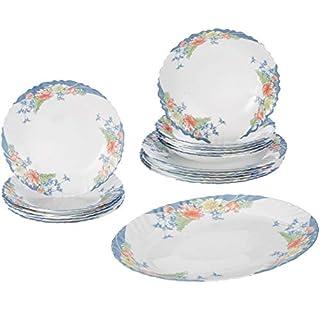 Dajar Florine Dinner Service Arcopal 19-Piece Set, Glass, white/red/blue/yellow, 33x 33x 31cm,–Units