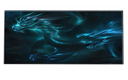 iKammo Galaxy High Grade Non-slip Rubber Base Sticthed Edge Gaming Mouse Pad - Designed to fit Computer Desk Stationery Accessories 35 x15.55 x0.07 Wing Dragon