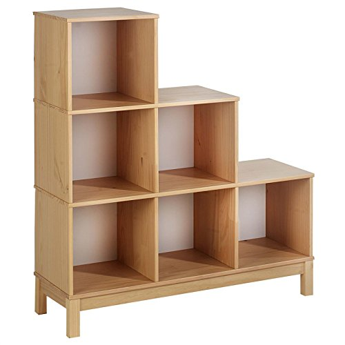 Stufenregal Treppenregal Gestell Regal Bücherregal Holzregal LOGO mit 6 Fächer, Kiefer massiv buchefarben