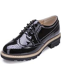 Mujeres Vintage Oxford Brogues Zapatos Perforados con Cordones De Charol Antideslizantes Planos Tacones Bajos Oxfords Calzado