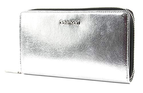 Calvin Klein Fold Large Zip Around Wallet Metallic Silver - Fold Wallet