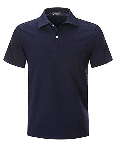 Sttlzmc polo uomo manica corta classico basic camicia fitness cotone t shirts tops solido tennis golf,blu,2xl