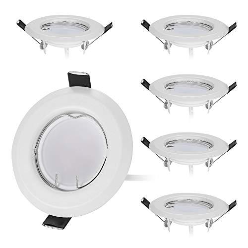 HCFEI Lot de 6 Spot LED encastrable en blanc Ultra Plat avec 6x3W Dimmable Ampoule 220V Spot Module, 50-55mm Trou, Dimmable, Blanc chaud 3000K, 120°Angle de faisceau