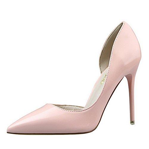 AalarDom Femme Pointu Tire à Talon Haut Couleur Unie Chaussures Légeres Rose-Verni