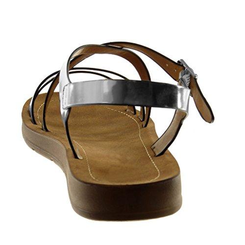 Angkorly Chaussure Mode Sandale Lanière Cheville Femme Multi-Bride Verni Lanières Croisées Talon Plat 2 cm Argent