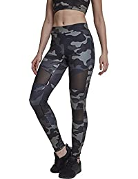 Urban Classics Ladies Camo Tech Mesh Sport Leggings, lange Damen Streetwear und Fitnesshose mit halbtransparenten Einsätzen