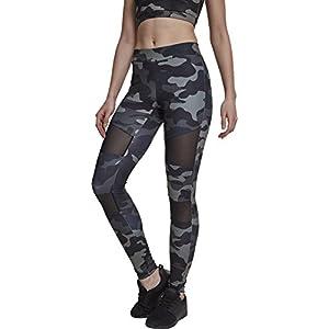 Urban Classics Damen Camo Tech Mesh Sport Leggings Streetwear und Fitnesshose mit halbtransparenten Einsätzen