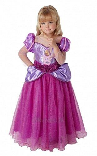 Offiziell Disney Mädchen Super Luxus Pailletten Märchenprinzessin büchertag Woche Halloween Kostüm Kleid Outfit - Rapunzel, 3-4 years (Rapunzel Halloween-kostüme)