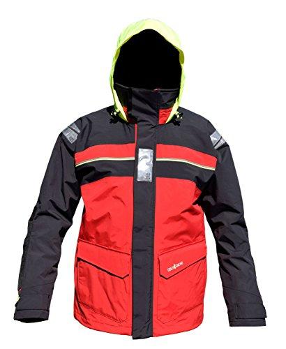 crazy4sailing Herren Segeljacke Bergen Offshore Jacke, Größe:M, Farbe:Red/Carbon