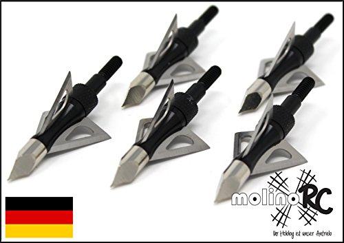 molinoRC 6X Pfeilspitzen | schwarz | Jagdspitzen Armbrust Bogen | Alu mit 3 Klingen aus 430 Edelstahl | 6X Pfeilspitze für Jagd schwarz Alu und Edelstahl