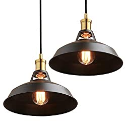 Phansthy Retro Pendant Light Metal Shade 10.6 Inch Vintage Industrial Ceiling Lighting Loft Coffee Kitchen Hanging Lamp Antique Finished, Pack of 2