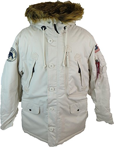 Alpha Industries Herren Parkas POLAR JACKET Winterjacke- Gr. S, Off White Alpha Flight Jacket