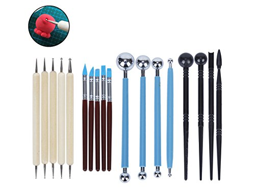 sadzero 18 POLYMER CLAY formbare Carving Tools Ball Stylus Dotting Tools für Keramik Rock Malerei Mandala Art Shaping Modeling Prägung Set - Dot Mischen