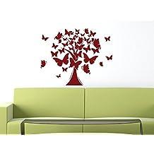 Pared Adhesivo árbol de vida–Vinilos decorativos para salón Árbol mariposas, metal, 010 blanco, 72 x 57 cm