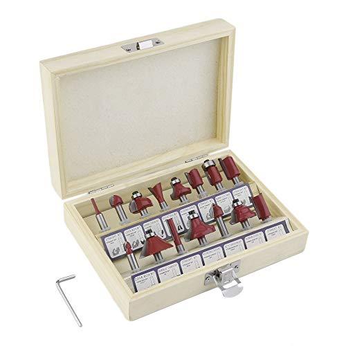 1/4 (6,35 mm) 15-tlg. Hartmetallschaft-Holzfräser-Set Holzschneider-Trimmmesser-Formfräser-Set im Holzetui - Rot Mdf-sealed Box