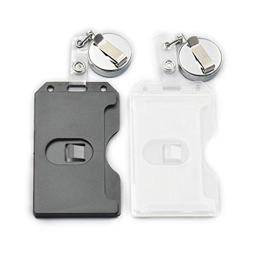 """Cantidad: 2Pcs Metal carrete de yoyo + 2Pcs tarjeta soporte Color: Negro o Transparente elección Tarjeta de plástico WXL aproximado: 62mmx110mm (1.26""""x 3.5) Carrete --- Tamaño: 24""""pull Longitud; Cuerda de metal Puede utilizar: Server/camarero p..."""