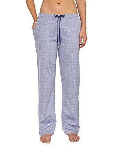 Schiesser Damen Schlafanzughose Mix & Relax Web Hose lang, Gr. 38, Blau (dunkelblau 803)