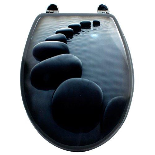 Carpemodo WC Sitz WC Deckel Klodeckel MDF robustem Holzkern Antibakteriell Scharniere aus Metal Größe 43x36 cm Fotodruck Design Steine Stone