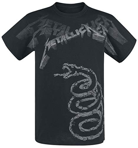 Herren Shirt Ärmellänge (Metallica Black Album Faded T-Shirt schwarz L)