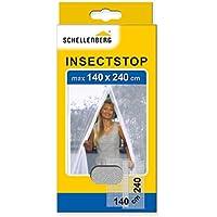 Schellenberg 20503 Mosquitera balcón y Puerta de terraza, Dimensiones: 140 x 240 cm, Blanco, Montaje fácil sin taladrar, Incl. Correa de fijación y Pesos