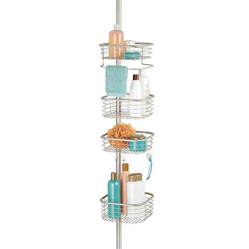 mDesign Teleskopregal für die Dusche - Duschablage ohne Bohren aus Metall - Duschkorb zum Hängen – praktisches Duschregal für Shampoo, Rasierer, Schwämme und sonstiges Duschzubehör - mattsilber