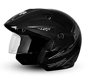Vega Cruiser Open Face Graphic Helmet with Peak Arrows (Black and Silver, S)