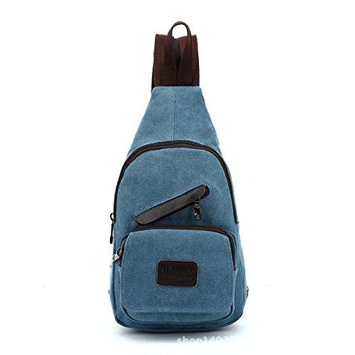 BULAGE Paket Paket Brusttaschen Rucksäcke Männer Leder Leinen Schultern Zurück Lässig Einfach Leicht Großzügig Blue