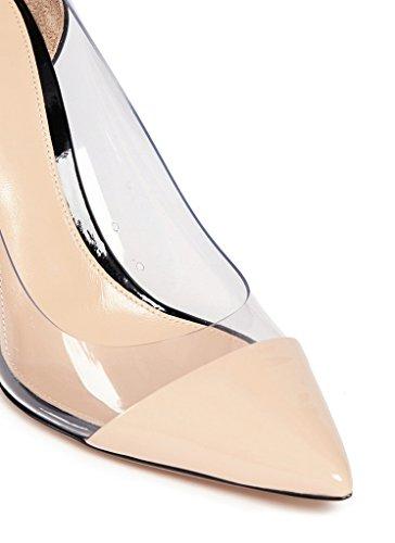 EDEFS Damenschuhe Stiletto High Heel Transparent Pumps Hochzeit Brautschuhe Beige