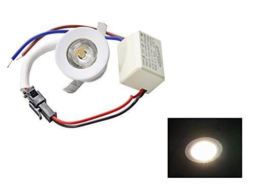 comprare on line Faretto led ad incasso 1 watt mini spot punto luce tondo luce bianca 6500k calda 3000k e blu driver 220v con bordo bianco p-31b (Luce calda 3000k) E56 prezzo