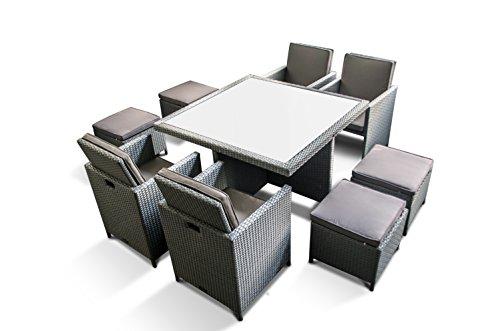 Zurück Stühle, Hocker (PolyRattan - DEUTSCHE MARKE - EIGNENE PRODUKTION - 8 Jahre GARANTIE auf UV-Beständigkeit - Ragnarök-Möbeldesign - Gartenmöbel Essgruppe Tisch + 4 Stühle & 4 Hocker 12 Polster Platinum Grau)