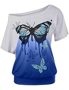T-Shirt da Donna, ASHOP Casual T-Shirt, Maniche Corte T-Shirt, Maglietta da Donna a Maniche Corte con Stampa Farfalla...