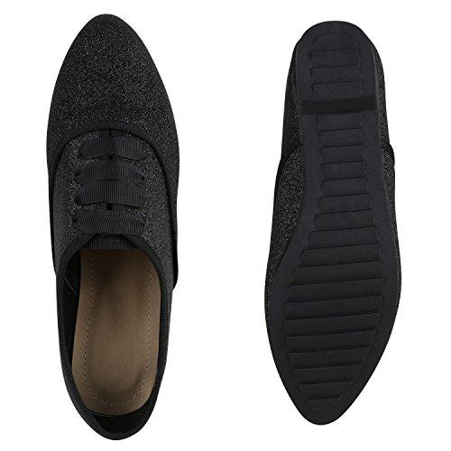 Damen Halbschuhe | Klassische Schnürer Leder-Optik Velours | Basic Schuhe Glitzer Spitze | Schleifen Details | Flache Schuhe Muster Schwarz Glitzer