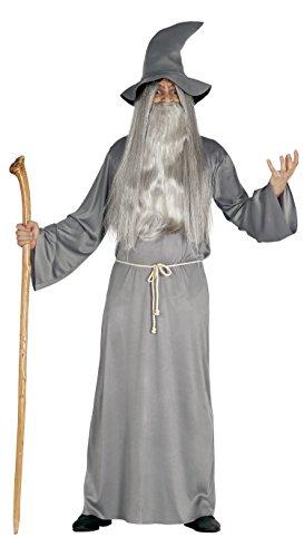 3-teiliges Herren Zauberer Halloween Kostüm - Tunika Hut Kordel - Einheitsgröße M/L