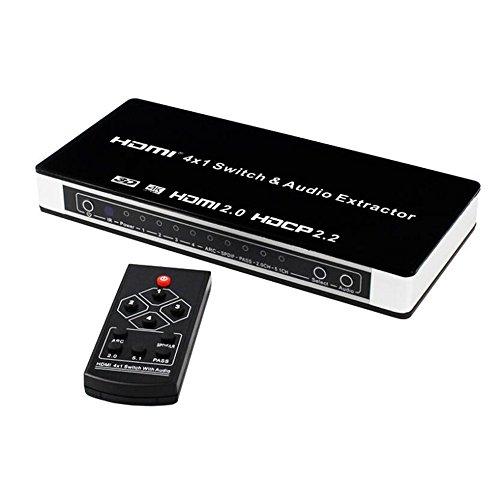 Version 2.0 HDMI-Umschaltbox HDMI 4X1 Vier in einen HDMI-Separator 1 Ausgang HMDI2.0 HDCP2.2 Version 4K 60HZ Video-Verteiler Audio Extractor Unterstützung 1080P 4K 3D Genießen Sie um Video-Konverter (Hdmi-zu-glasfaser-konverter)