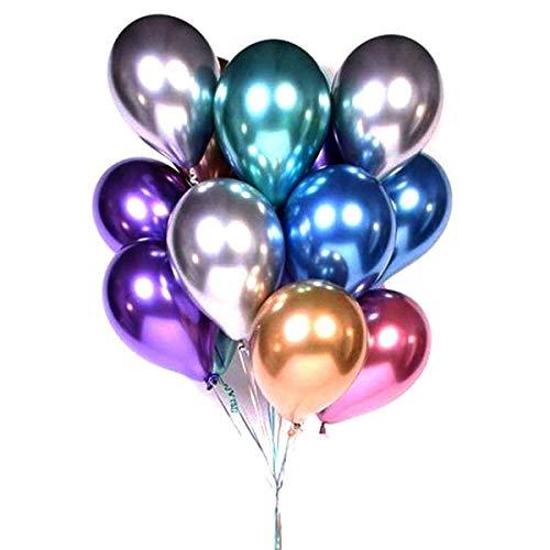 "Heatigo 50pcs Luftballons Metallic, 12\"" Glänzendes Latexballons Dickes Chrom Metallic Aufblasbare Luftballons Geburtstagsfeier Dekoration,Deko Hochzeit, Vintage Deko"