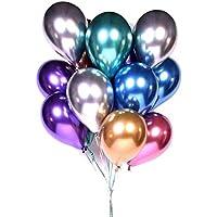 "50pcs Balloons Metallic, 12 ""Shiny Latex Balloons Thick Chrome Metallic Inflatable Balloons Birthday Party Decoration, Wedding Deco, Vintage Deco"